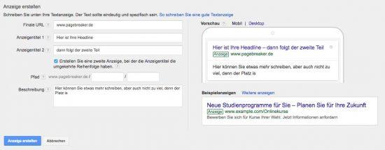 Google AdWords Textanzeige
