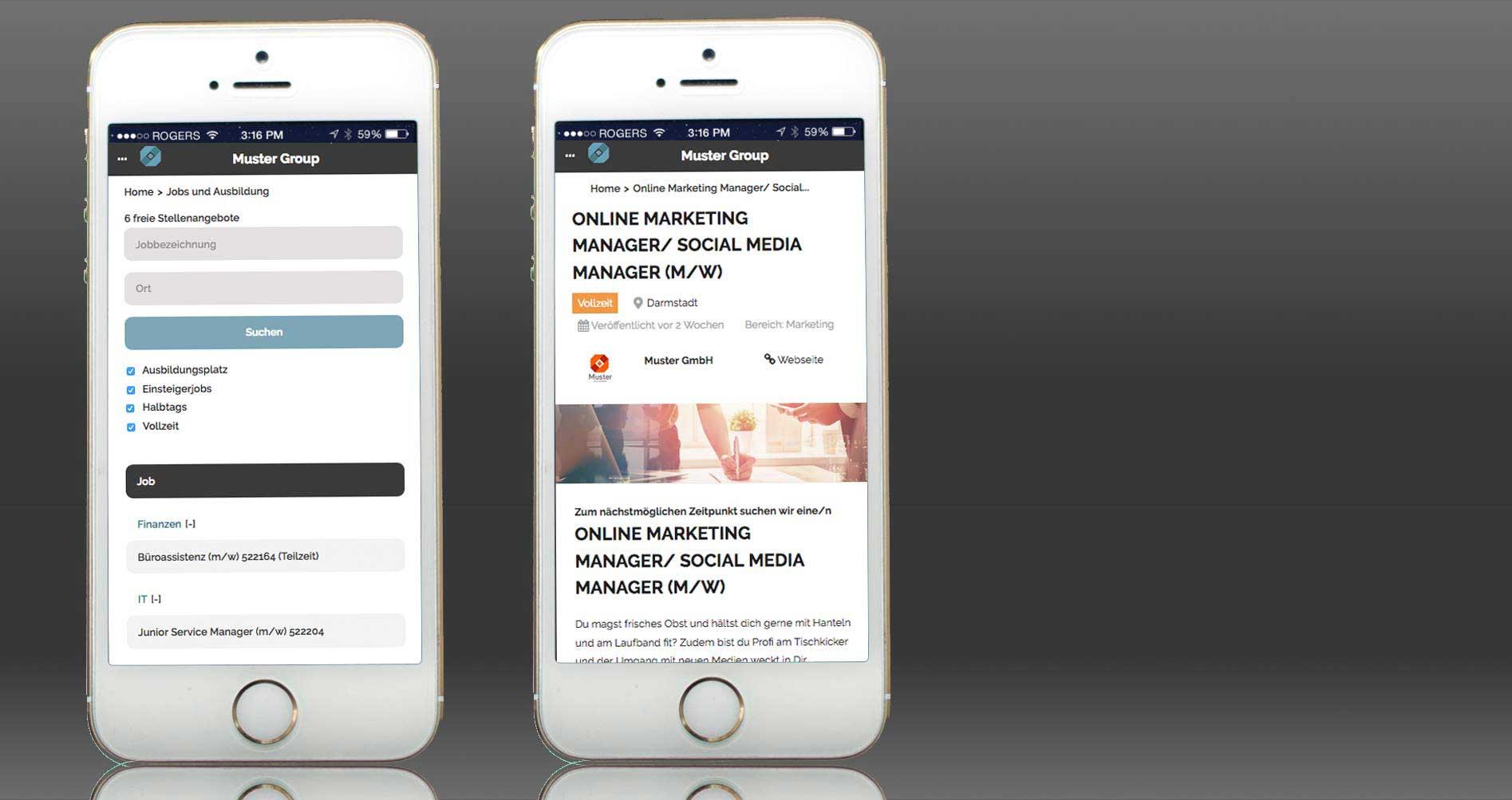 Karriereseite für Unternehmen - auch mobil