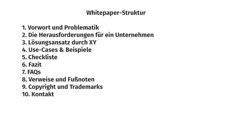 Whitepaper schreiben oder Whitepaper erstellen –die Struktur