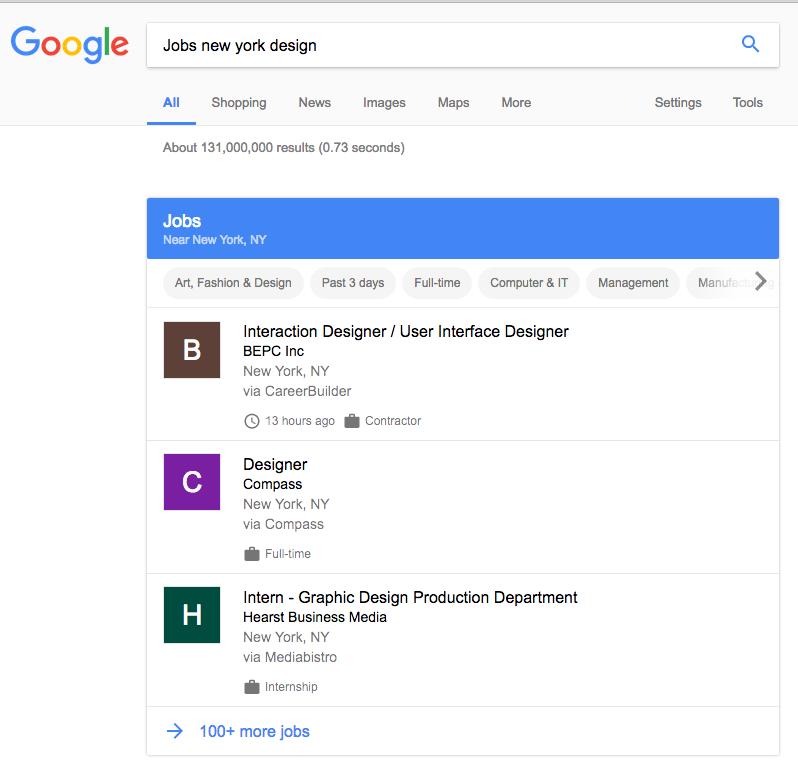 Google for Jobs Anzeige
