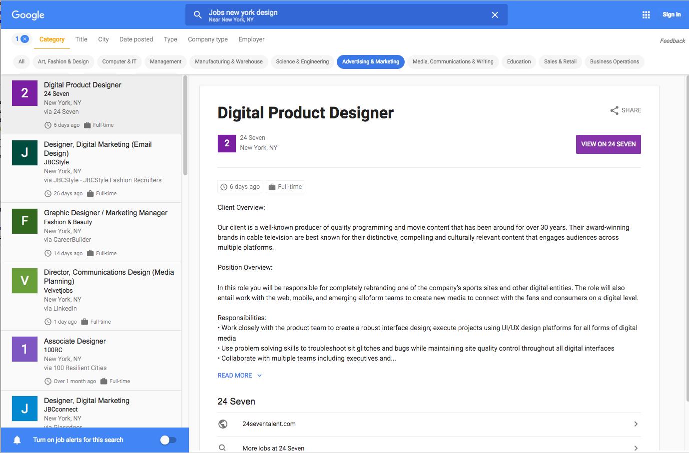Google for Jobs - Jobanzeige
